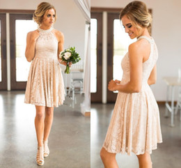 Discount knee length dress blush - Blush Full Lace Bridesmaid Dresses 2018 Country Short Knee Length With Pearls Jewel Neck Zipper Back Western Maid of Hon