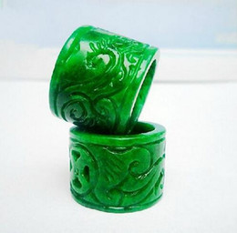 drying fan NZ - Myanmar jade green monarch pull that full color dry green Citroen raw jade carved ring for men and women