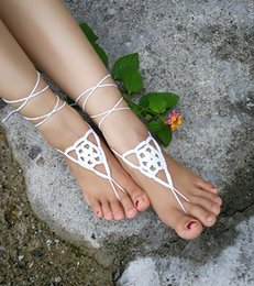 $enCountryForm.capitalKeyWord Australia - Crochet white barefoot sandals Nude shoes Foot jewelry Beach wear Yoga shoes Bridal anklet bridal beach accessories white lace sandals S204