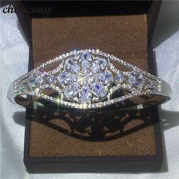 Sterling Silver Diamond Bangle Bracelet NZ - choucong Flower Design bracelet Diamond S925 Sterling Silver Engagement Wedding bangle for women Gift Fashion accessaries
