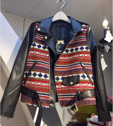 Baseball Jackets Pu NZ - JSXDHK 2018 Fashion Women Leather Jackets Autumn Winter Black PU Patchwork Turn Down Collar Ethnic Long Sleeve Baseball Jacket