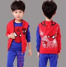 $enCountryForm.capitalKeyWord Canada - Fashion style Children's wear clothing autumn and winter boys sports suit hoodie vest, sweater and trousers long sleeve spider sets S18JS563