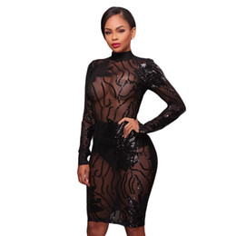 5316843e10 Sexy Skinny Black Lace Dress Canada - Sexy Sequined Perspective Nightclub  Dress Solid Black Women Sexy