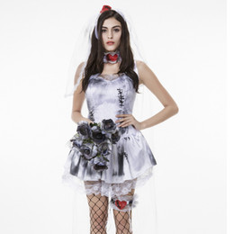 zombie woman costume 2019 - Umorden Halloween Purim Costumes for Women Zombie Corpse Bride Costume Short Love Patch Fantasia Cosplay Dress for Adult