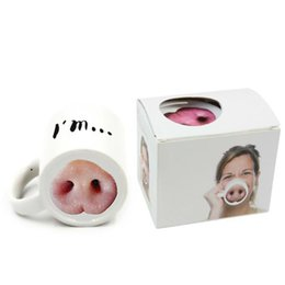Wholesale funny gifts resale online - Creative Ceramic Mugs Funny Pig Nose Dog Nose Coffee Milk Cup ml Tea Cup Water cup office Drinkware Christmas Gifts XX