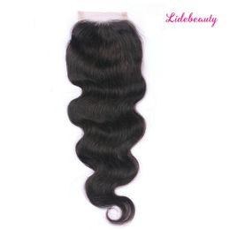 Three Part Human Hair Lace Closure Australia - Indian Virgin Human Hair 4*4 Lace Closure with Baby Hair Glueless Body Wave Free Part Middle Part Three Part Lace Closure Bleaches Knots
