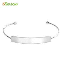 Blank cuff Bracelets online shopping - SEASONS Stainless Steel Blank Bar Open Cuff Bangles Bracelets Rectangle Blank Stamping Tags Silver Tone Color cm