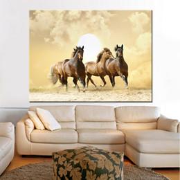 $enCountryForm.capitalKeyWord UK - Canvas HD Print Painting Home Decor 1 Piece Pcs Animal Running Fine Horses Pictures Sunset Poster Living Room Wall Art Framework