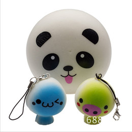 Discount squishy keychain wholesale - 4cm Squishy Panda Phone Straps Buns Bread keychain charm Soft Panda Squishy Bread Cell Phone lanyard for iphone 8 plus x