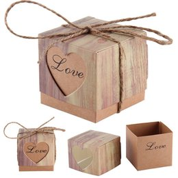BonBonniere gifts online shopping - 50pcs Candy Boxes Love Rustic Kraft Bonbonniere Favor Wedding Party Birthday Baby Shower Decoration Laser Cut Candy Gift Boxes