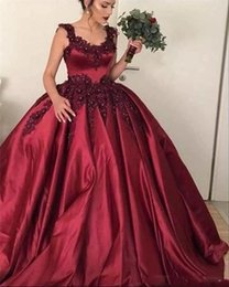 Wholesale Burgundy Ball Gown Quinceanera Dresses Scoop Lace Appliques Beaded Sweet Puffy Custom Prom Evening Pageant Gowns Wear Cheap
