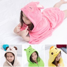 Discount quick drying towels In Stock Cartoon Coral Fleece Baby Bath Towel Cape Baby Cloak Children Body Robes With Animal Cute Ear Hats 90*90cm Fast