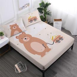 $enCountryForm.capitalKeyWord NZ - Kids Cartoon Bedding Set Cute Bear With Honey Print Bed Linens Twin Full King Queen Fitted Sheet Pillowcase Home Textile