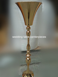 trumpets for wholesale NZ - Newly design gold iron Metal Flower Trumpet Vases Centerpieces For Wedding