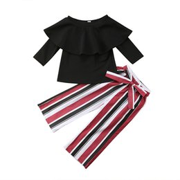 $enCountryForm.capitalKeyWord UK - Fashion New Toddler Kids Girl Off shoulder Long Sleeve Blouse T-shirt Tops+High Waist Striped Wide Leg Pant 2PCS Clothing Set