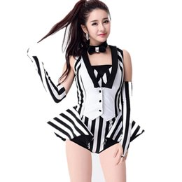 1fbfae99d30 Black And White Stripe Jazz Dance Costumes Performance Wear Dj Female  Singer Stage Show Clothing New