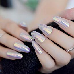 Metallic Mirror Artificial Fake Nails Unicorn Chromeleon Nails Art Tips Glamour Stiletto Quality Nail Decoration Set Clients First False Nails