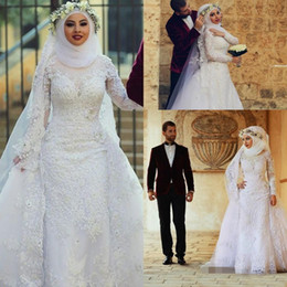 Wholesale 2019 Muslim Long Sleeves Lace Sheath Wedding Dresses Arabic Islamic Hijab Wedding Gowns High Neck Applique Bridal Gowns With Long Train