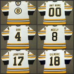5e691474e 4 BOBBY ORR 8 CAM NEELY 17 STAN JONATHAN 18 HAPPY GILMORE Boston Bruins  1975 CCM Hockey Jersey S-3XL