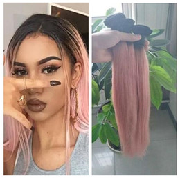 $enCountryForm.capitalKeyWord Australia - 1B Pink Ombre Indian Human Hair Two Tone Indian Ombre Hair 3 Bundles Straight Human Hair Bundles