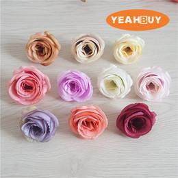 Discount white tea roses artificial - 100pcs 10COLORS 5CM Artificial Silk Vintage Retro Rose Camellia Japonica Flower Head Bud For Diy Apparel Headwear Decora