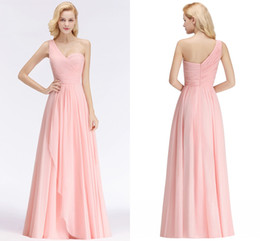 simple chiffon one shoulder wedding dress 2019 - Sexy Actual Pictures Candy Pink 2019 New Arrival Cheap Bridesmaid Dresses Halter Neck Backless Wedding Guest Prom Evenin
