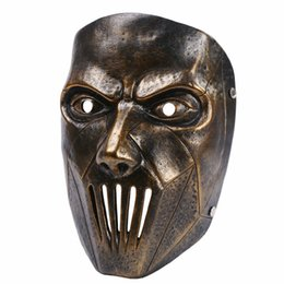 Discount slipknot face masks Resin Slipknot Mask Joey Cosplay Scary Mask Silver Halloween Male Party Masks Masquerade Costume Masks