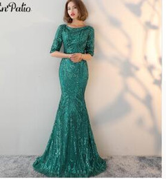 Printed Plus Size Special Occasion Dresses Australia - PotN'Patio Half Sleeves Green Evening Dresses Long O-neck Backless Sequin Mermaid Prom Dresses 2018 Special Occasion Dresses