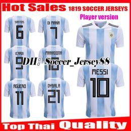 Player version 2018 2019 World Cup Argentina Soccer Jersey 18 19 MESSI DI  MARIA AGUERO KOMPANY DYBALA Higuain Home jerseys football shirts 7e29cf536