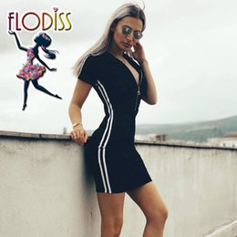 Wholesale FLODISS Side Stripe Sport Hoodies Sportswear 2018 Women Short Sleeve Running Suit Workout Clothes Fitness Wear Gym Tennis Dress