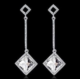 $enCountryForm.capitalKeyWord Canada - Trendy Rhinestone Square Earrings with Stones Tassel Earrings for Women Wedding Silver Color Dangle Earrings Jewelry