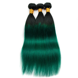 Green ombre weaves online shopping - 10A Colorful Hair Extensions Green Colors Human Hair Weaves Bundles Factory Outlets Ombre Brazilian Straight Hair Weaves