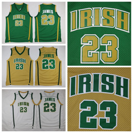 white lebron shirt NZ - Mens St. Vincent Mary High School Irish LeBron James High School Basketball Jersey #23 Cheap LeBron James Green Stitched Basketball Shirts