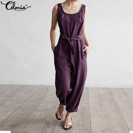 Harem Jumpsuits Women Australia - Celmia Women Jumpsuit 2018 Summer Trouser Office Work Harem Pants Sleeveless Rompers Elegant Casual Linen Overalls Palazzo 5XL