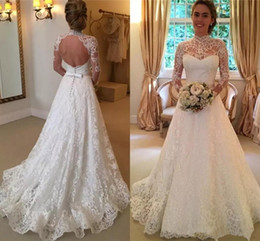 $enCountryForm.capitalKeyWord UK - Vintage Lace Wedding Dresses 2018 Retro High Neck Illusion Sleeved Open Back Aline Garden Wedding Gowns Chapel Bridal Dresses