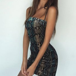 Discount sexy woman snake print - 2018 new vintage print snake skin sleeveless dress summer women sexy bodycon snakeskin party mini dresses