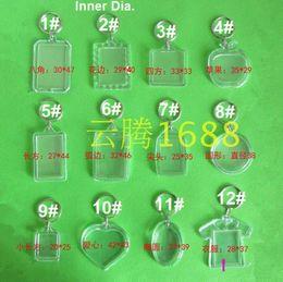 Großhandel Freies Verschiffen 35pcs löschen Acrylschlüsselanhänger-Einsatz-Fotoplastikschlüsselring-Quadrat-Schlüssel-Rechteckherz-Kreiszusätze