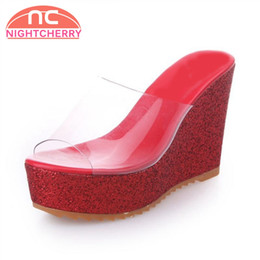 75d47ee5b630 wholesale Women High Wedges Sandals Peep Toe Platform Bling Wedges Slippers  Summer Daily Party Shoes Women Footwear Size 35-39