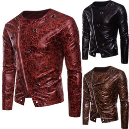Wholesale mens long leather motorcycle jacket resale online - Mens PU Leather Jacket New Unique Zipper Leather Buckle Motorcycle Jacket Leather Jackets for Men Long Sleeve Men s Outerwear High Quality