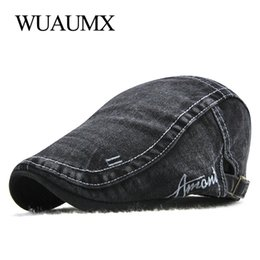 05236c3c045 Wuaumx Summer Berets Hat For Men Cotton Wash Flat Cap Male Peaked Hat  Newsboy Style Visors Beret Cap 2018 Adjustable Casquette