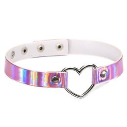 $enCountryForm.capitalKeyWord Australia - PU Leather Choker Necklace Gift For Women Holographic Choker Heart Metal Laser Collar Chocker Fashion Club Party Jewelry