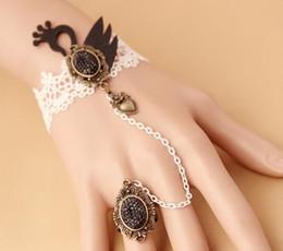 $enCountryForm.capitalKeyWord Australia - Hot style Retro and original handmade black swan lace bracelet with ring integrated chain fashion classic delicate elegance