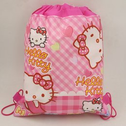 63fb3555d819 1pc Birthday Party Cartoon Kids Favors Drawstring Bags Baby Shower  Non-Woven Fabric Hello Kitty Backpack Decoration Supplies
