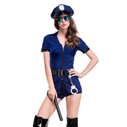 police woman costume shorts 2019 - Halloween cosplay forest blue culottes police uniforms sexy suit