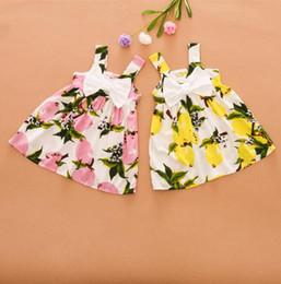 Cute suspenders for girls online shopping - Infant Girl Summer Dresses Knee length Suspender Lemon Bow Cute New Baby Dress Girls Clothes Slip For Princess Birthday