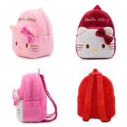 Red Rose Black Bag UK - 1-3 Years Baby Plush Backpack Cute Cartoon Pink Rose Wine Red Hello Kitty Cat Plush Bag Soft Toy Children's School Bag