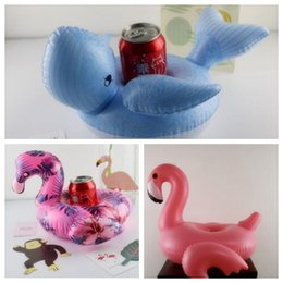 Wholesale 3 Styles Flamingo Cup Holders Whale Floating Inflatable Drink Can Cell Phone Holder Stand Pool Toys Event Party Supplies CCA9656