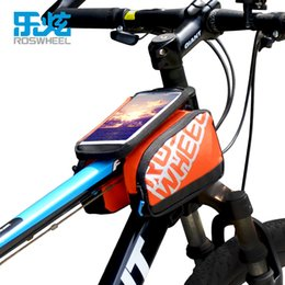 Tube Top Colors Canada - ROSWHEEL LOHAS SERIES Riding Cycling Bag Bike Bicycle Front Top Tube Frame Pannier Double 5.5inch Touchscreen Pouch 2 Colors