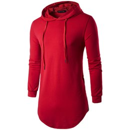 Mens hooded long sleeve t shirt online shopping - High Street Tshirts Spring Long T shirt Mens Solid Hooded Long Sleeved Tops Hem Curved Longline Tees