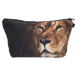 Animal Travel Pillows UK - Trend Women Cosmetic Bag Neceser Portable Make Up Bag Cute Back Lion 3D Printed Organizer Bolsa feminina Travel Toiletry